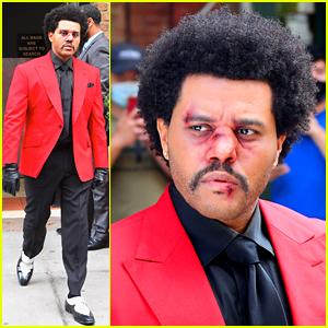 The Weeknd Steps Out with Bruised Face Makeup, Seemingly for VMAs Performance