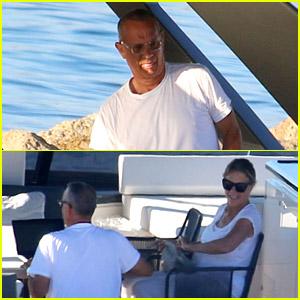 Tom Hanks & Rita Wilson Relax On a Yacht in Greece