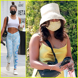Vanessa Hudgens Matches Her Yellow Dress To Her Face Mask To Run Errands in LA