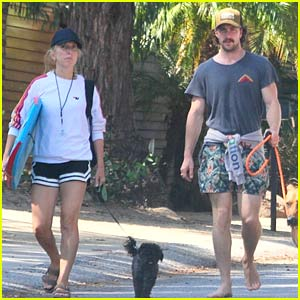 Aaron Taylor-Johnson Goes Barefoot While Walking the Dogs with Wife Sam