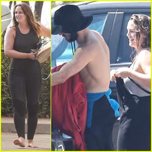 Adam Brody Goes Shirtless After a Beach Day with Wife Leighton Meester