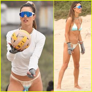 Alessandra Ambrosio Rocks Tie-Dyed Bikini for Beach Volleyball Match