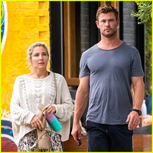 Chris Hemsworth Goes Barefoot While Leaving a Restaurant with Wife Elsa Pataky