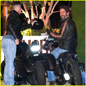 Gerard Butler Rides His Motorcycle To Dinner With A Friend