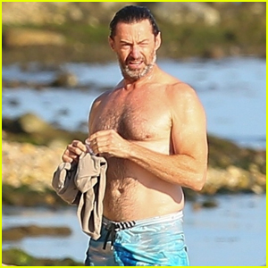 Hugh Jackman Goes Shirtless While Walking His Dogs in the Hamptons