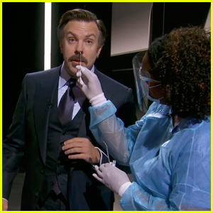 Jason Sudeikis Gets His Nose Swabbed for COVID-19 While Presenting at Emmy Awards 2020