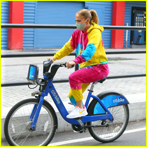 Jennifer Lopez Takes a Tie-Dye Bike Ride in NYC