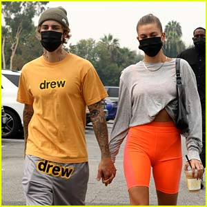 Justin Bieber & Wife Hailey Hold Hands En Route to a Saturday Morning Pilates Session