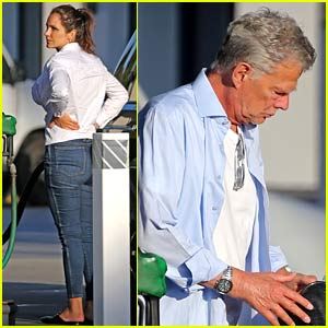 Katharine McPhee & David Foster Fill Up Their Car While in Montecito