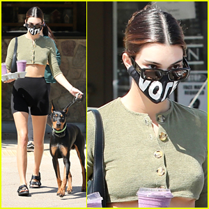 Kendall Jenner Wears 'Vote' Face Mask During A Juice Run