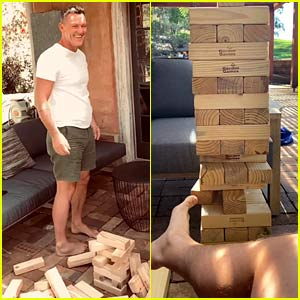 Luke Evans Plays a Game of Giant Jenga with His Feet (Video)