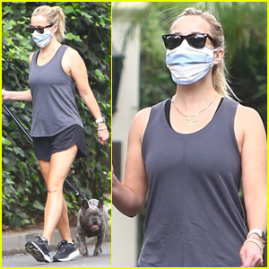 Reese Witherspoon Heads Out on a Walk with Her French Bulldog