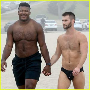 NFL Player Ryan Russell Flaunts PDA with Boyfriend Corey O'Brien During a Beach Day