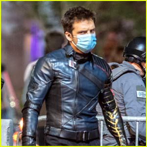 Sebastian Stan Masks Up In Between Takes on 'Falcon & The Winter Soldier' Set