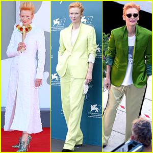 Tilda Swinton Wears Three Chic Looks for a Busy Thursday at Venice Film Festival 2020