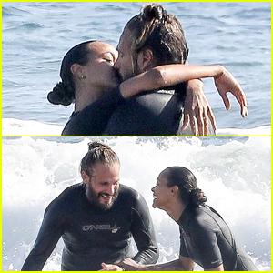 Zoe Saldana & Husband Marco Perego Pack on PDA During Surf Session!