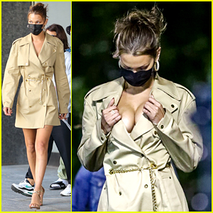 Bella Hadid Pushes Up Her Cleavage on a Photo Shoot Set