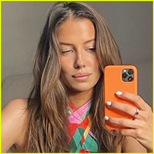 Brad Pitt's Girlfriend Nicole Poturalski Flaunts Her Toned Figure in Colorful Outfit
