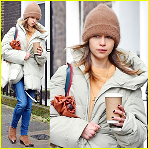 Emilia Clarke Bundles Up During a Chilly Fall Day in London