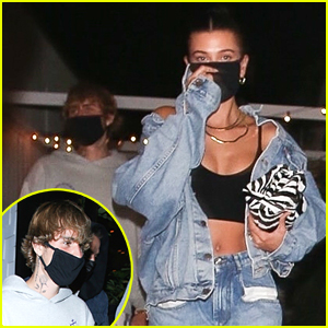 Justin & Hailey Bieber Meet Up For Lunch & Dinner With Friends in LA