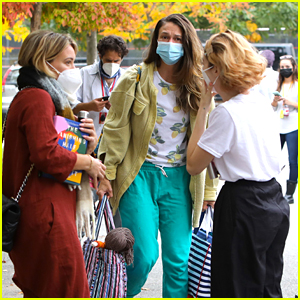 Hilary Duff & Sutton Foster Mask Up While Filming 'Younger' Final Season in NYC