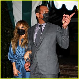 Jennifer Lopez Stuns In Blue Jumpsuit & Fringe Bangs During Date Night With Alex Rodriguez
