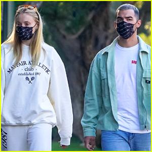 Joe Jonas & Sophie Turner Emerge in Their Face Masks for Stroll Around the Neighborhood
