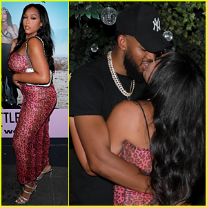 Jordyn Woods Makes Out with Boyfriend Karl-Anthony Towns at Her PrettyLittleThing Launch Event