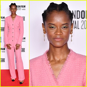 Letitia Wright Wears A Pink Pantsuit For 'Mangrove' Premiere in London