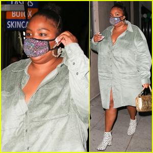 Lizzo Rocks Sparkling Face Mask for Night Out in WeHo