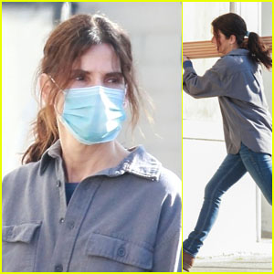 Sandra Bullock Carries Heavy Lumber While Filming a Netflix Movie