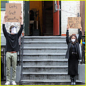 Vanessa Hudgens & the Dude With Sign Remind People to Vote During the Spooky Season