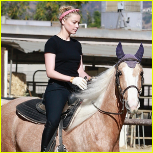 Amber Heard Heads Out on a Horseback Ride with Friends