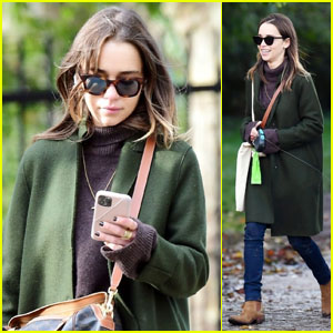 Emilia Clarke Enjoys a Stroll With Her Dog With a Friend in London
