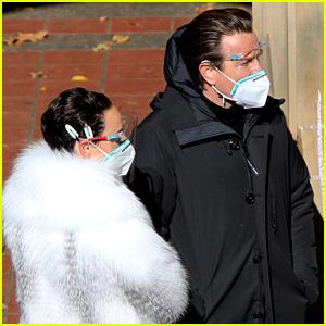 Ewan McGregor Masks Up In Between Scenes on 'Simply Halston' Set in New York City