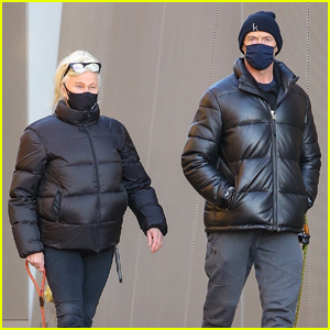 Hugh Jackman & Wife Deborra-Lee Furness Bundle Up for Morning Dog Walk