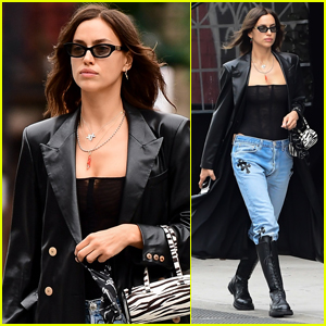 Irina Shayk Rocks Leather Trench Coat During Day Out in NYC