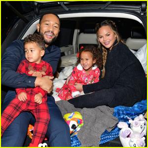 John Legend & Chrissy Teigen Bring Their Kids to Drive-In Premiere of 'Jingle Jangle'!