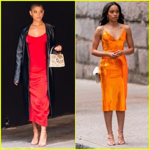 Jordan Alexander & Whitney Peak Get All Dressed Up Filming 'Gossip Girl' in NYC
