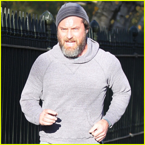 Jude Law Shows Off Bushy Beard While Jogging in London