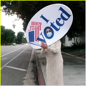 Katy Perry Wears a Giant 'I Voted' Sticker While Encouraging People in L.A. to Vote