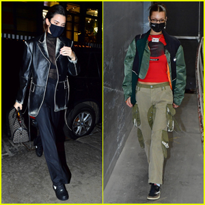 Kendall Jenner Rocks Leather for Another Night Out in NYC with Bella Hadid