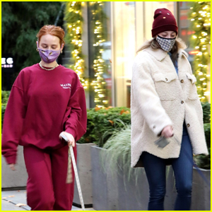 Madelaine Petsch & Lili Reinhart Buddy Up While Taking Their Dogs for a Walk