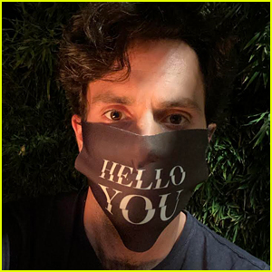Penn Badgley Gets Back To Work on 'You' Wearing 'Hello You' Mask