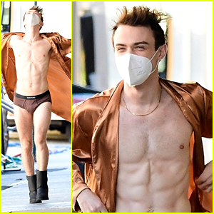 Thomas Doherty Wears Nothing But His Tiny Underwear & a Bathrobe on Set in These Must-See Photos!