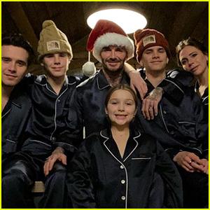 The Beckhams Wore Matching Pajamas for Their Christmas Morning Photo!