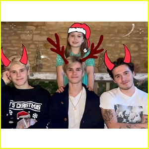 Brooklyn Beckham Didn't Seem to Enjoy Taking the Family Christmas Photo This Year - Watch Video