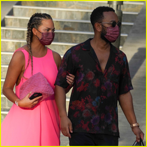 Chrissy Teigen Goes Pretty in Pink While Shopping with John Legend in St. Barths