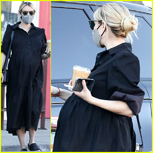 Pregnant Emma Roberts Wears Black Midi Dress for Coffee Run
