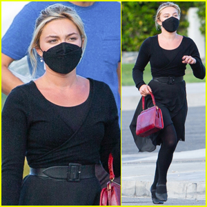 Florence Pugh Masks Up for Afternoon on Set of 'Don't Worry Darling' in Palm Springs